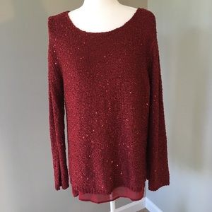 Apt 9 Red Sparkly Sequin Knit Sweater Chiffon Trim